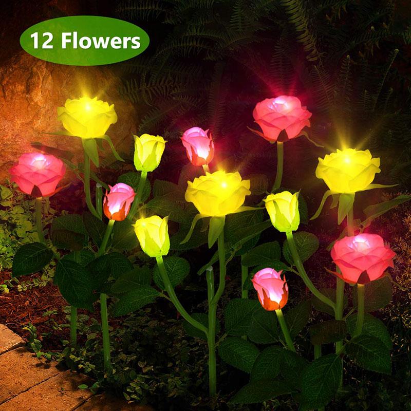 4 Artificial Coloured Rose Solar Powered Light Outdoor Garden Decor Pathway NEW